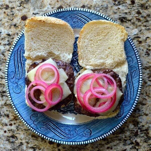 Burger with Pickled Onions by thewoksoflife.com