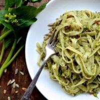 Creamy Roasted Choy Sum Pesto Pasta