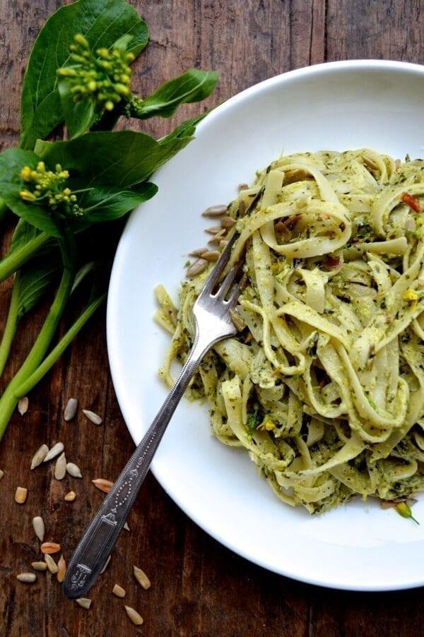 Creamy Roasted Choy Sum Pesto Pasta - The Woks of Life