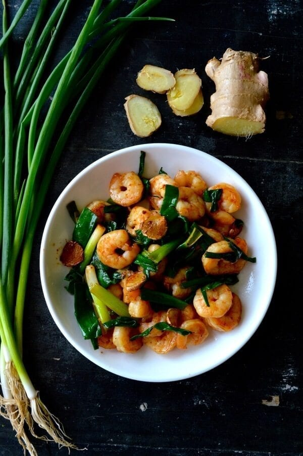 Scallion Ginger Shrimp by thewoksoflife.com