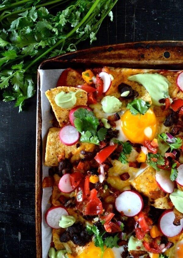 Huevos Rancheros Nachos w/ Avocado Crema by thewoksoflife.com