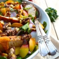 Nectarine Salad with Chicken & Carrot Ginger Dressing