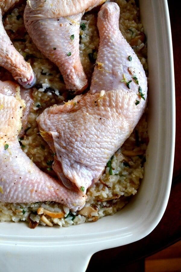 "Roast Chicken on Wild Mushroom Sticky Rice ""Risotto"" by thewoksoflife.com"