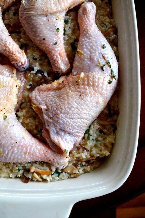 "Roast Chicken on Wild Mushroom Sticky Rice ""Risotto"" by thewoksoflife.com"