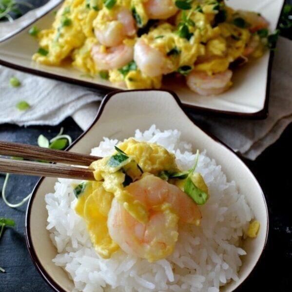Stir-fried shrimp and eggs