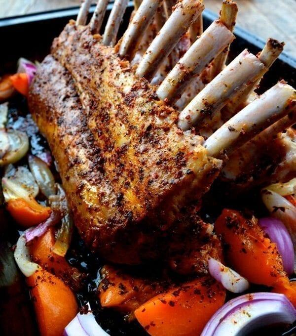 Roasted Rack Of Lamb W Turkish Spices Yogurt Sauce And