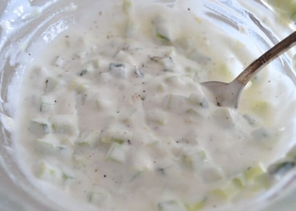 Cucumber Yogurt Sauce by thewoksoflife.com