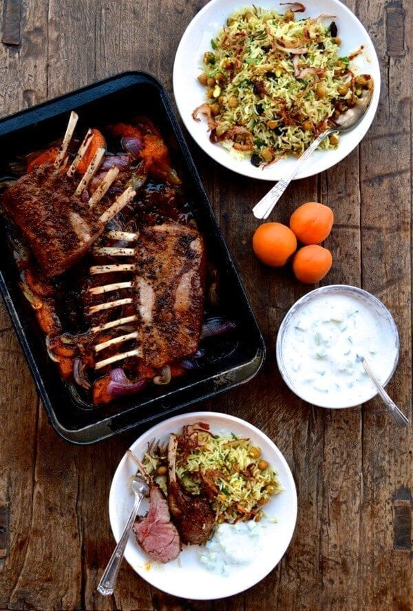 Roasted Rack of Lamb w/ Turkish Spices, Yogurt Sauce, and Rice by thewoksoflife.com