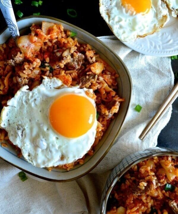 Beef and Kimchi Fried Rice - Chinese Korean Fusion, by thewoksoflife.com
