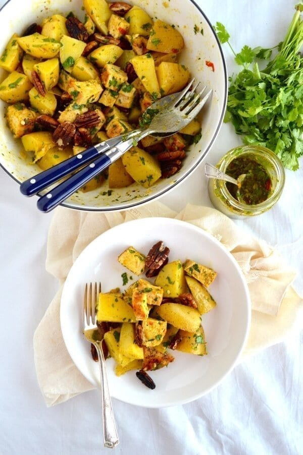 Curried Grilled Chicken Potato Salad by thewoksoflife.com
