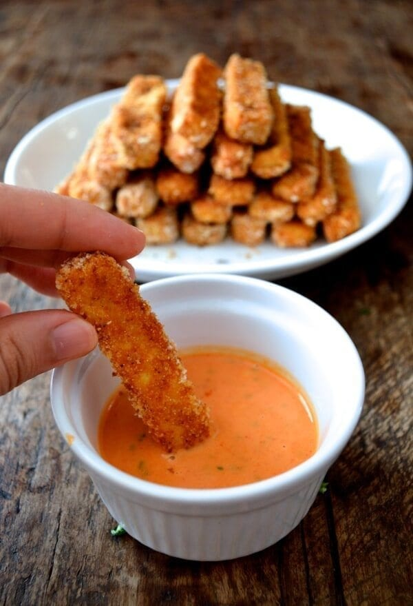 Tofu Fries or Chicken Fingers with Honey Sriracha Mayo by thewoksoflife.com