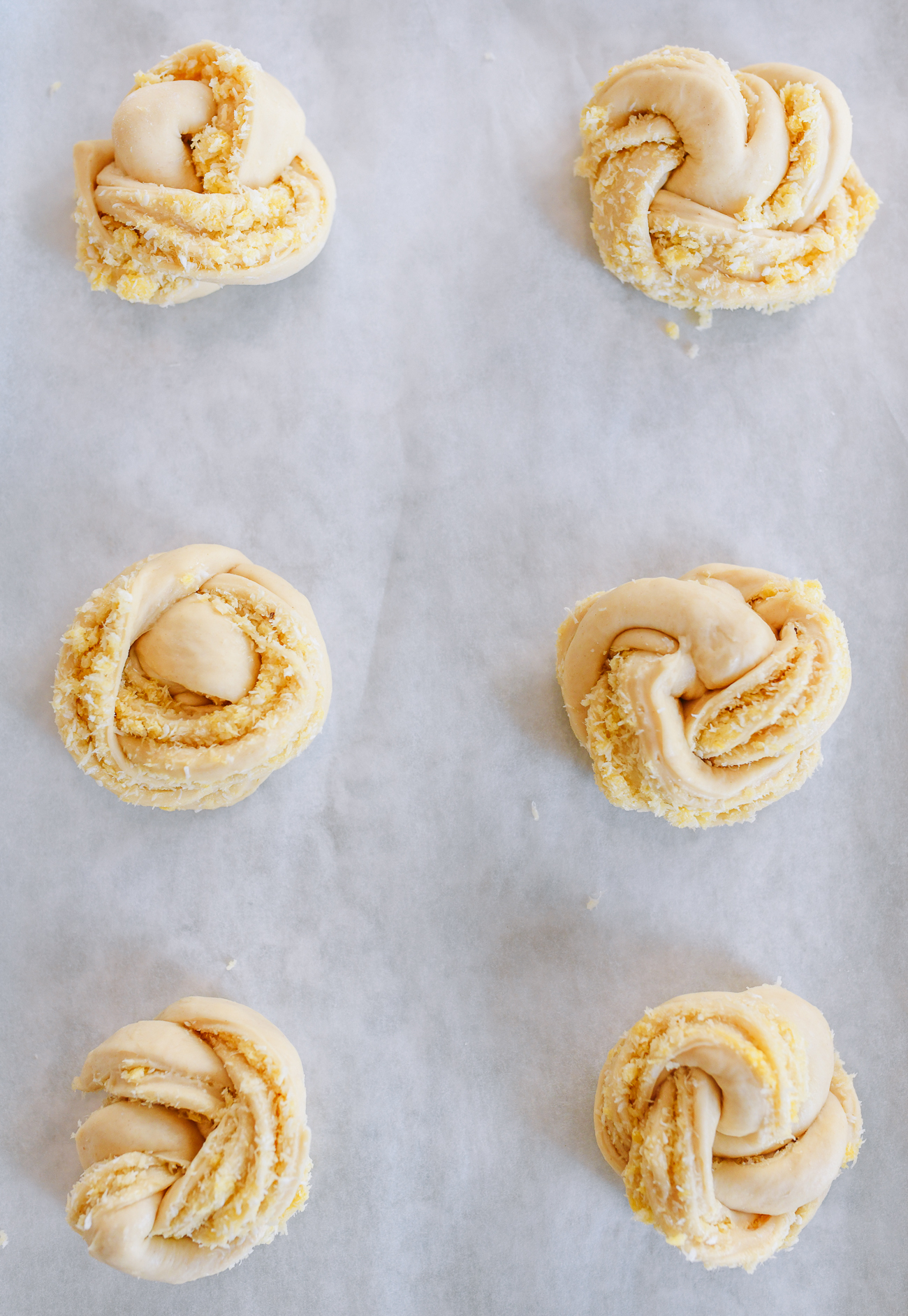 Inside out coconut buns shaped