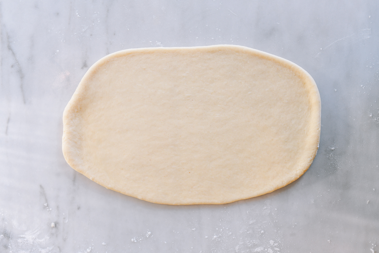 Rolled rectangle of dough