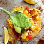 Crispy tofu tacos with green sauce