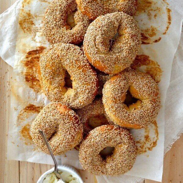 Homemade Sesame Montreal Bagels