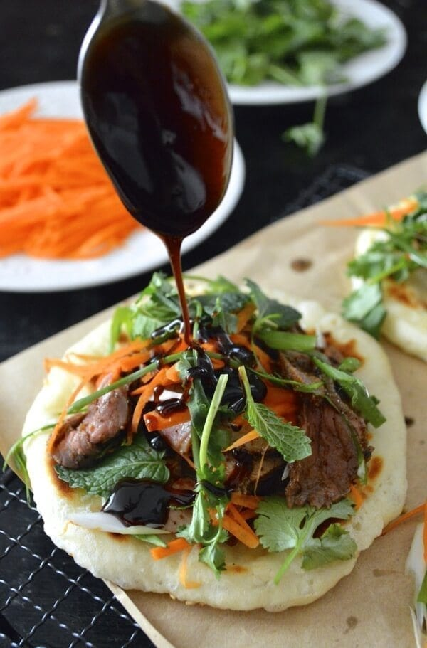 Spicy Lamb Buns with Honey Soy Drizzle by thewoksoflife.com