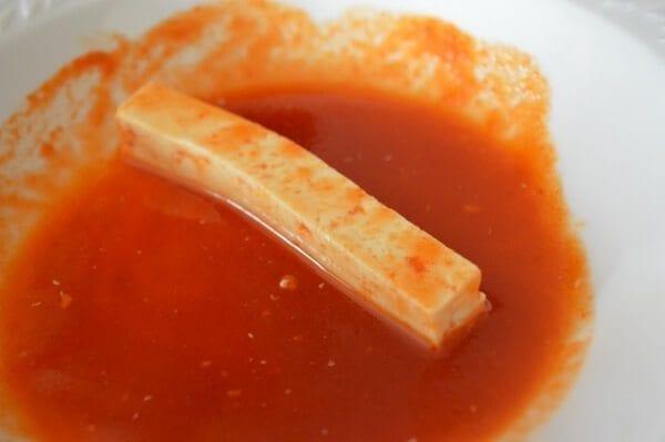 Tofu Fries or Chicken Fingers with Honey Sriracha Mayo by thewoksoflife.com