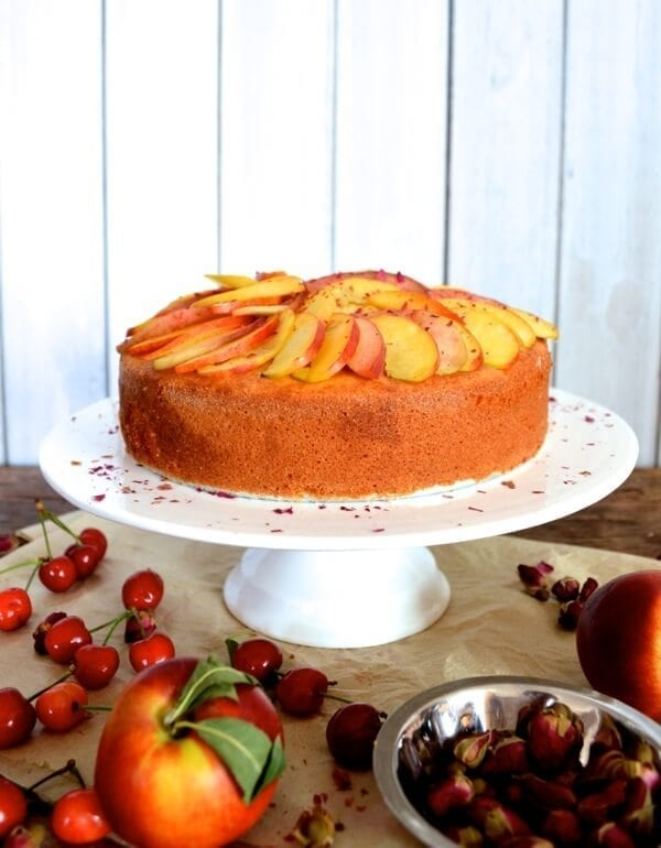 Stone Fruit Semolina Olive Oil Cake w/ Earl Grey Rose Syrup by thewoksoflife.com