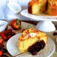 Stone Fruit Semolina Olive Oil Cake w/ Earl Grey Rose Syrup by thewoksoflife.com