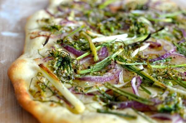 Chive Flower Flatbread, by thewoksoflife.com