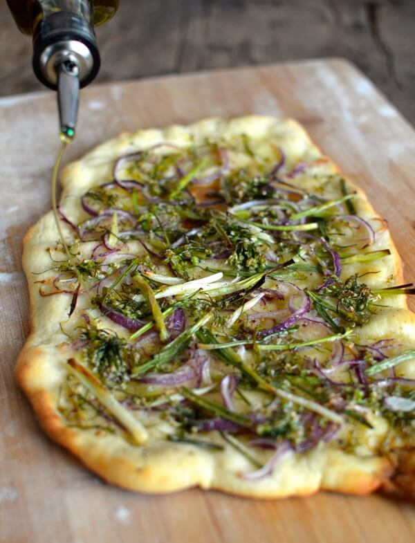 Chive Flowers Two Ways: Chive Flower Flatbread Recipe, by thewoksoflife.com
