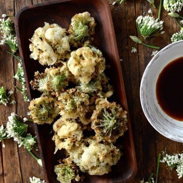 Chive flower tempura