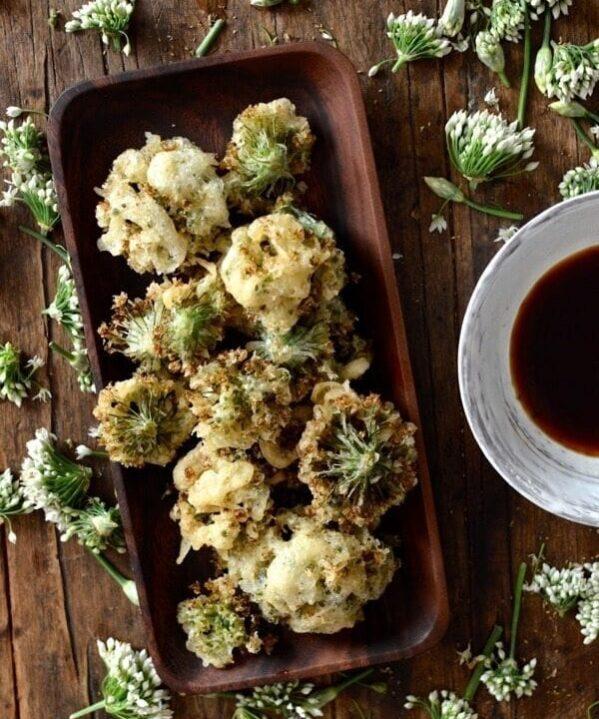Chinese Garlic Chive Flower Tempura Recipe, by thewoksoflife.com