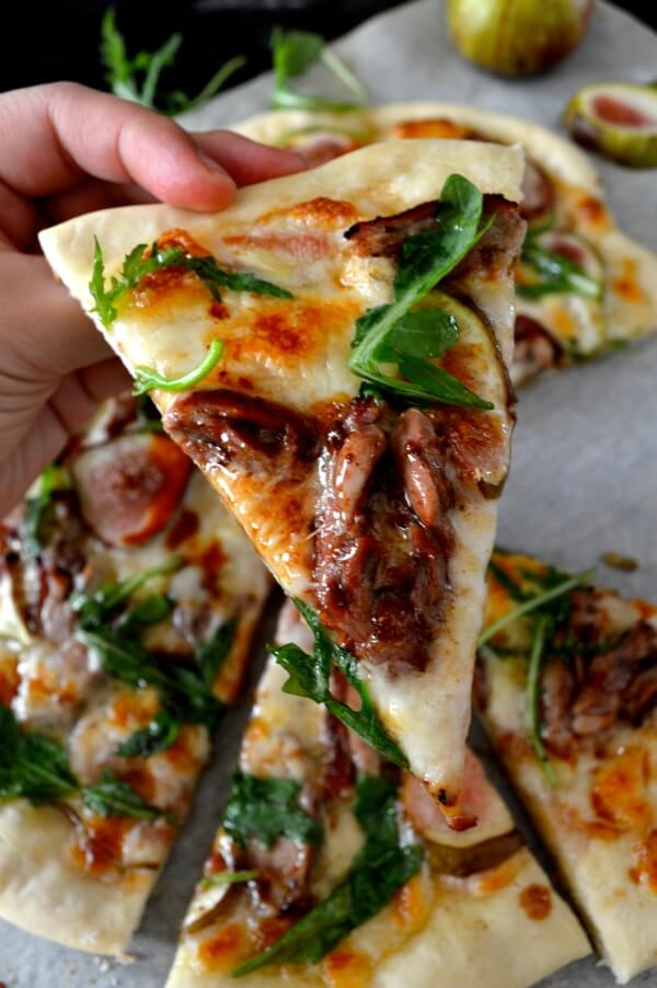 Roast Duck Pizza with Figs and Arugula by thewoksoflife.com