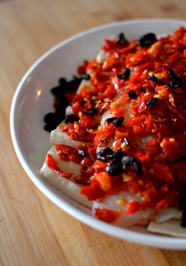 Hunan Steamed Fish with Salted Chilies - Duo Jiao Yu, by thewoksoflife.com