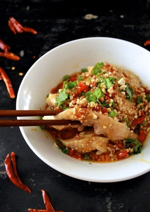 Drool-worthy Chicken in Chili Oil Sauce (Kou Shui Ji), by thewoksoflife.com