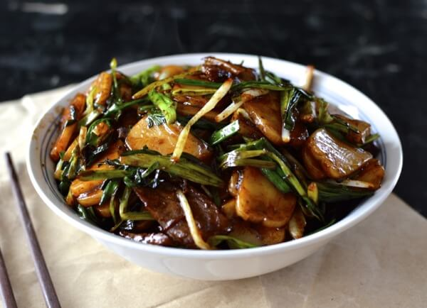 Beef and Chinese Rice Cake Stir-Fry by thewoksoflife.com