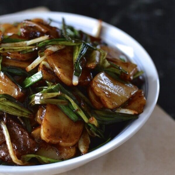 Chinese rice cake stir-fry with beef
