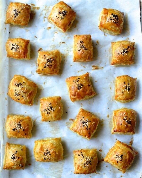 Chinese Roast Pork Puffs, by thewoksoflife.com