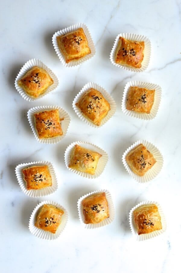 Chinese Roast Pork Puffs, by thewoksoflife.com
