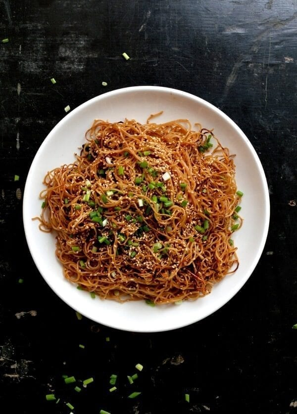 Honey Hoisin Pan-fried Noodles, by thewoksoflife.com