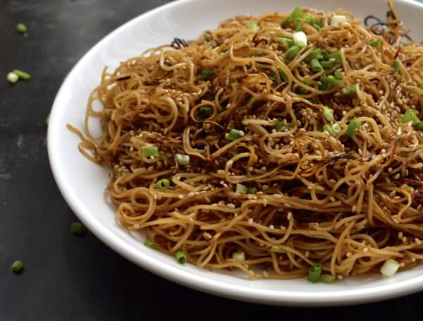 Pan-fried Honey Hoisin Noodles, by thewoksoflife.com