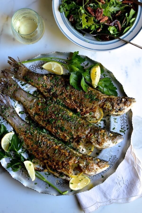 Lemon Soy Roasted Branzino, by thewoksoflife.com