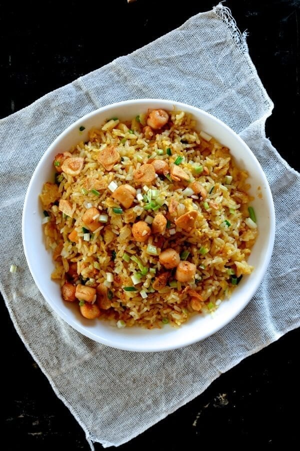 Scallop Fried Rice with XO Sauce and Crispy Garlic, by thewoksoflife.com