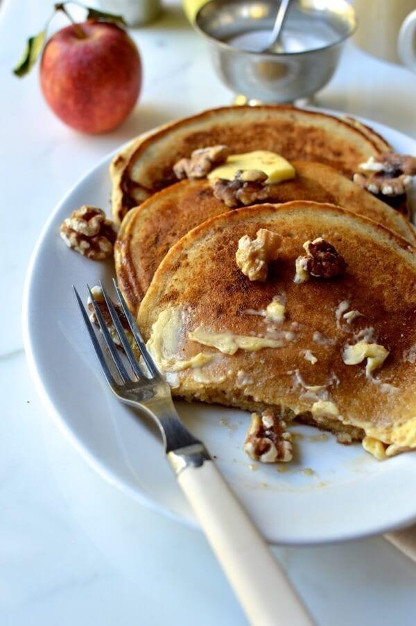 Apple Cider Pancakes, by thewoksoflife.com