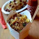 Pork fried rice in takeout container