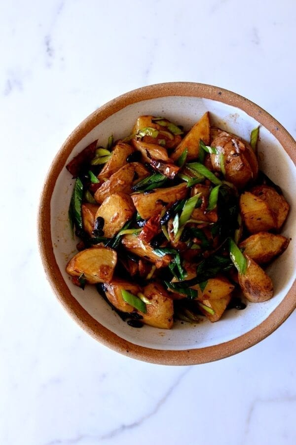 Spicy Black Bean Twice Cooked Potatoes, by thewoksoflife.com