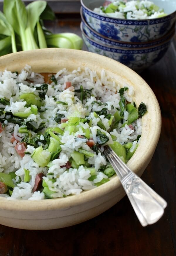Shanghai Cai Fan (Rice with Salted Pork and Greens), by thewoksoflife.com