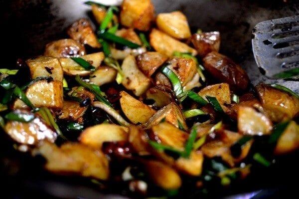 Spicy Black Bean Twice Cooked Potatoes, by thewoksoflife.com