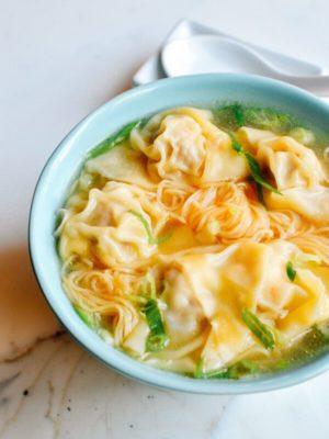 Cantonese Wonton Noodle Soup, by thewoksoflife.com