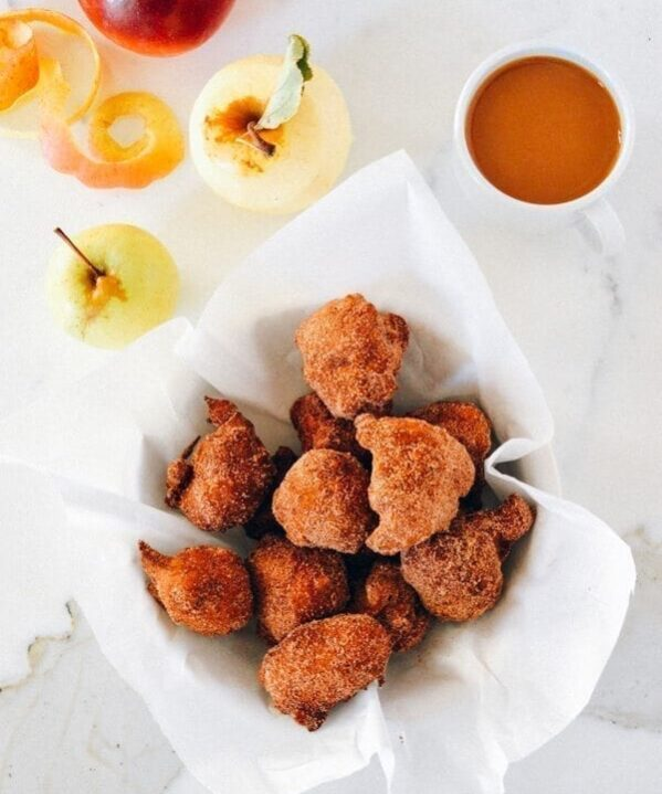 Cinnamon Sugar Apple Fritters, by thewoksoflife.com