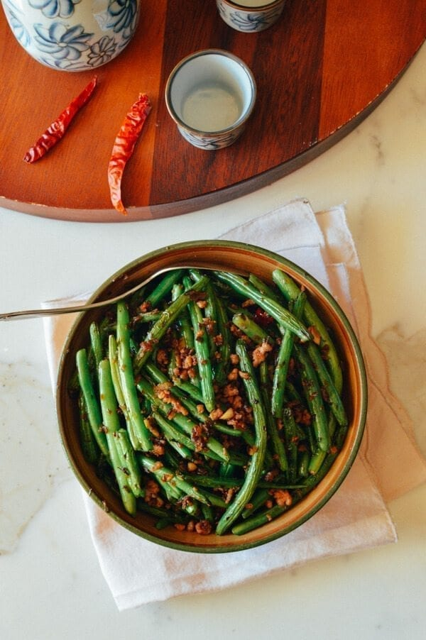Sichuan Dry Fried Green Beans, by thewoksoflife.com
