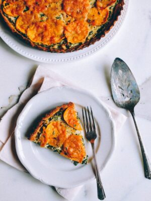 Cheesy Kale Sweet Potato Tart, by thewoksoflife.com