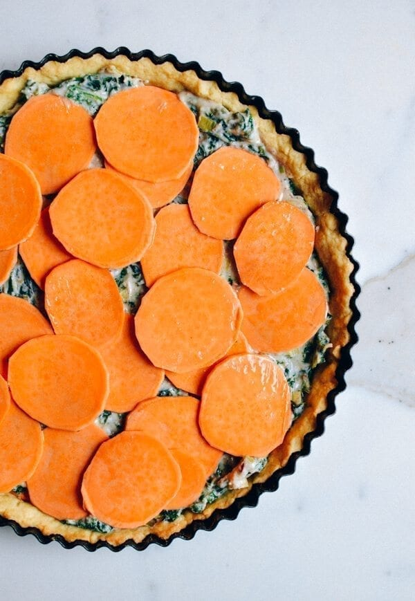 Cheesy Kale Sweet Potato Tart, by thewoksoflife.com