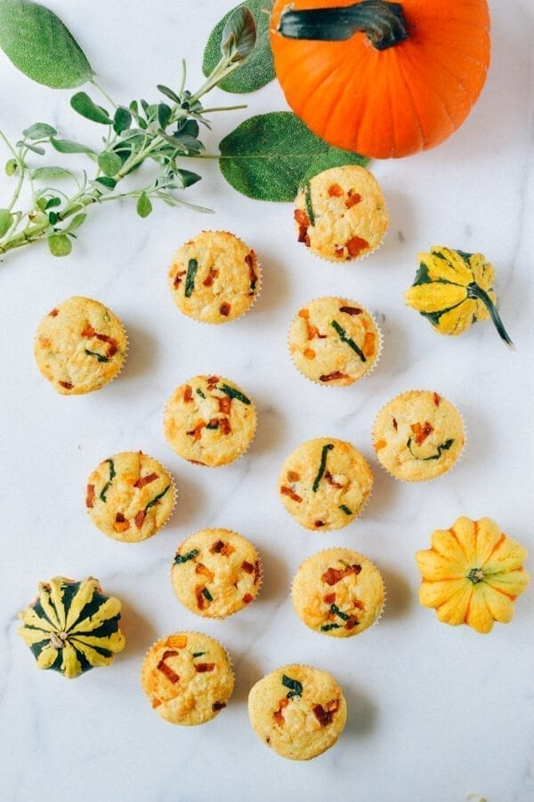 Savory Corn Muffins w/ Sage, Butternut Squash, Bacon, and Cheese, by thewoksoflife.com