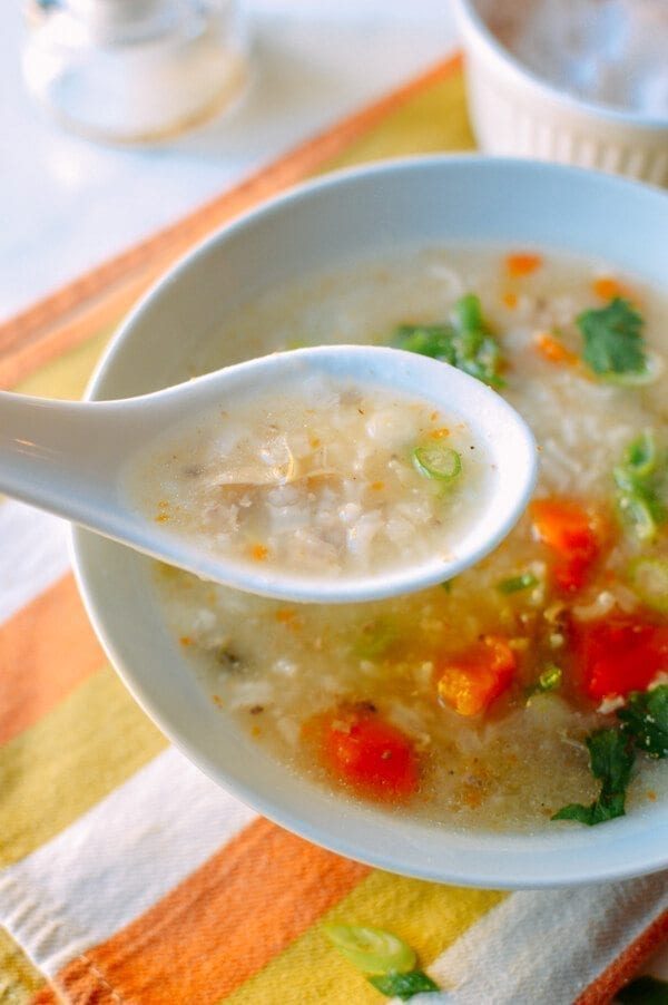 Leftover Thanksgiving Turkey Congee, by thewoksoflife.com